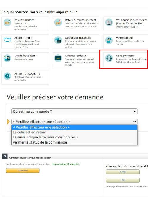 Comment contacter Amazon par téléphone