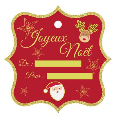 Etiquette de cadeau Noël avec renne et père Noël