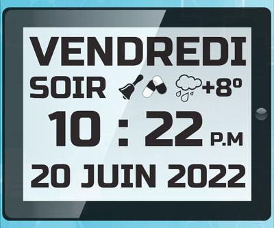 Horloge numérique avec grand affichage date heure et événements