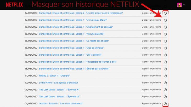 Bouton pour masquer historique  Netflix