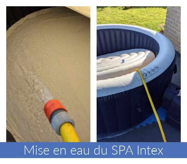 Phase de mise en eau ou remplissage du spa