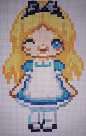 Pixel Art Alice au pays des merveilles