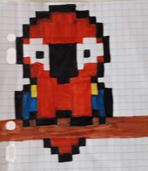 Pixel Art Perroquet facile